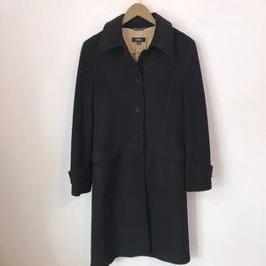 Whistles Black Wool Blend Funnel Neck Maxi Coat